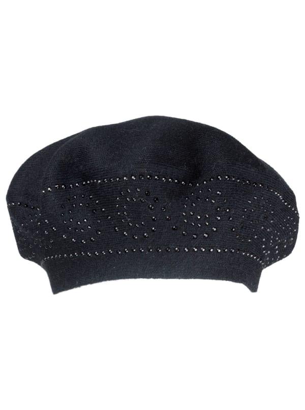 Jones New York Beret Hat With Embellishment - Black / Black - Front