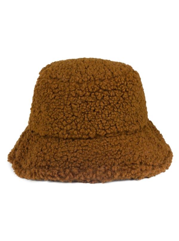 Jones New York Sherpa Bucket Hat - Brown - Front
