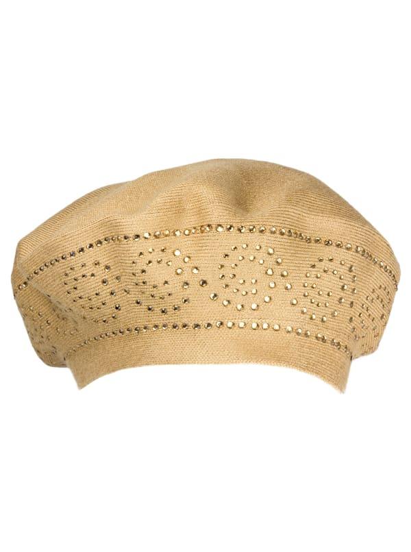 Jones New York Beret Hat With Embellishment - Camel / Black - Front