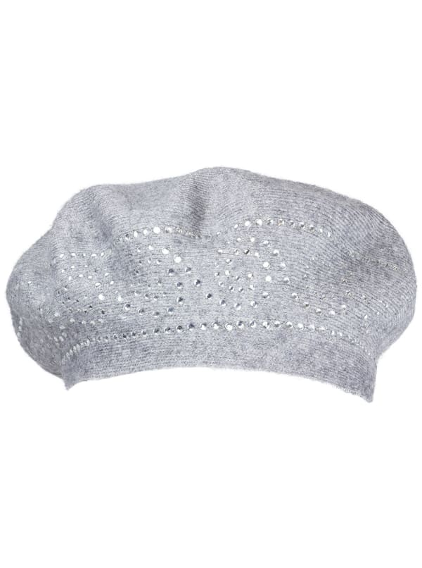 Jones New York Beret Hat With Embellishment - Grey / Clear - Front