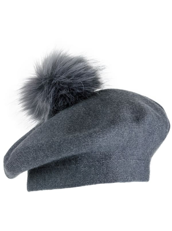 Jones New York Beret Hat With Faux Fur Pom Pom - Charcoal - Front