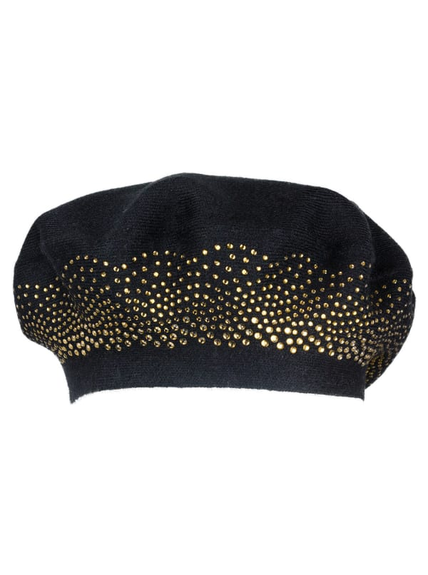 Adrienne Vittadini Fall Beret Hat With Embellishment - Black - Front