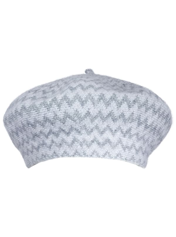 Adrienne Vittadini Chevron Fall Beret Hat - Grey - Front
