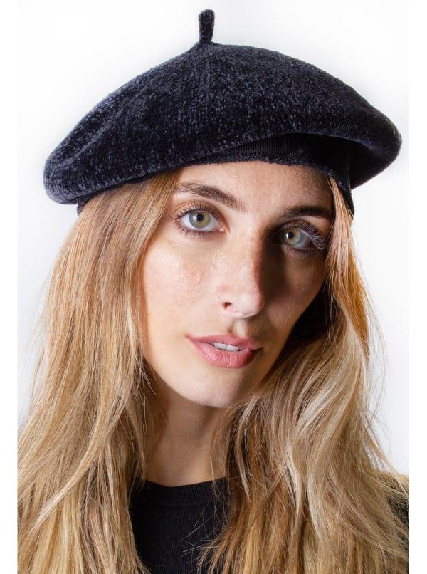 Adrienne Vittadini Fall Beret Hat - Black - Front