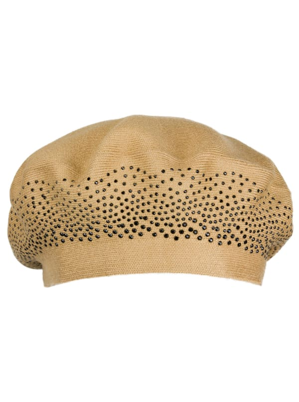 Adrienne Vittadini Fall Beret Hat With Embellishment - Camel / Black - Front