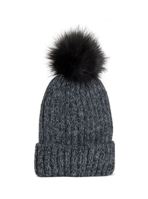 Adrienne Vittadini Ribbed Hat With Faux Fur Pompom - Black - Front