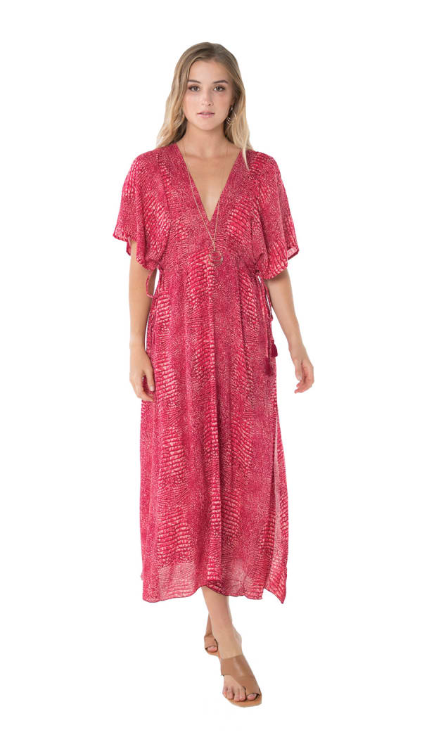 Bisous Tunic Sundress -Ular Red - Front