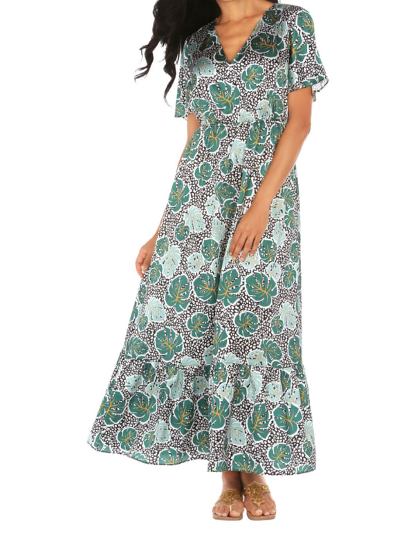 Caribbean Joe V-Neck Maxi Dress - Botanical Leopard - Front