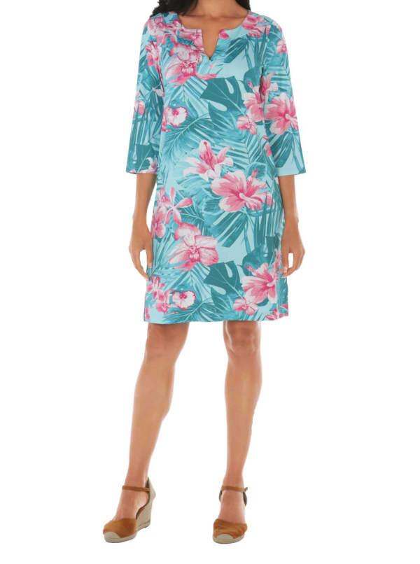 Caribbean Joe Yoke Neck Dress