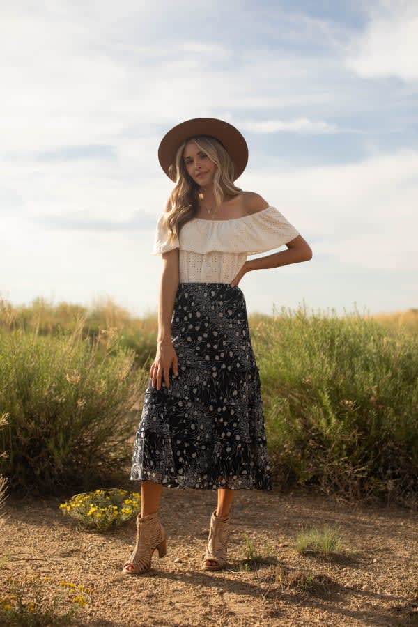 Bias Cut 4 Tier Elastic Waistband Skirt -Navy/Ivory - Front