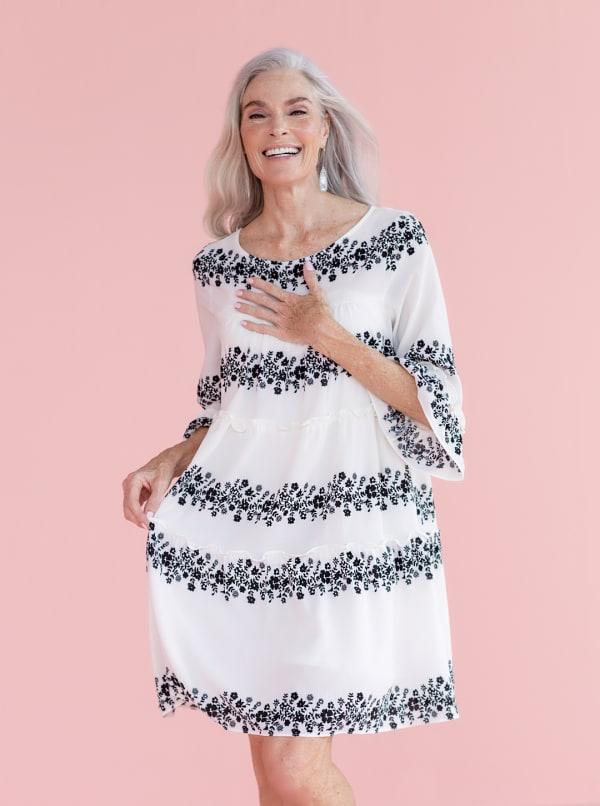 Babydoll Vine Floral Dress - Ivory/Black - Front