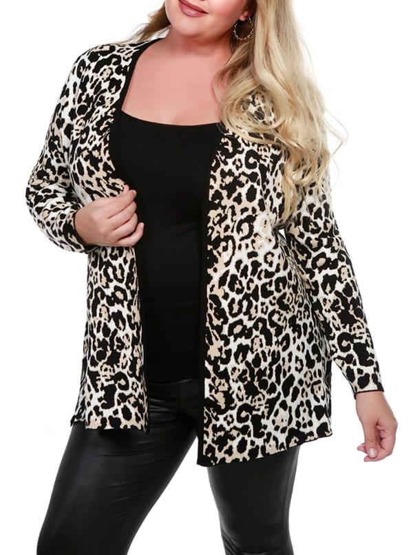 Leopard Jacquard Open Cardigan - Plus - Bengal - Front