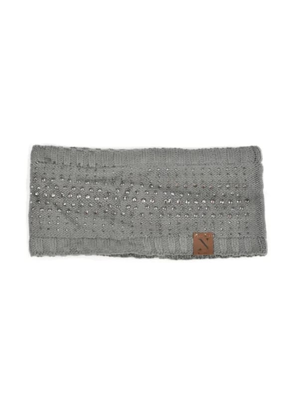 Studded Fleece Lined Winter Headband - Charcoal - Front