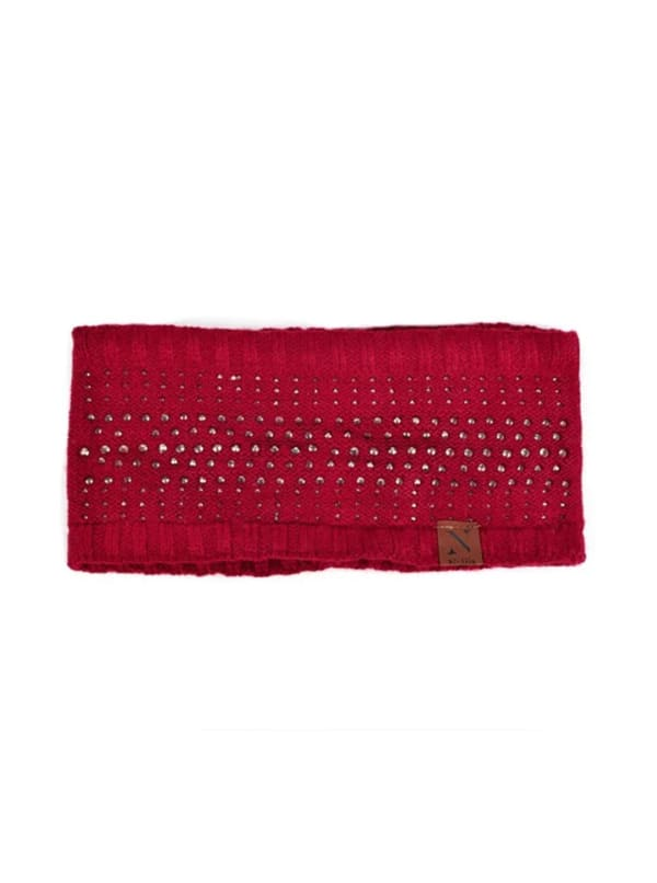 Studded Fleece Lined Winter Headband - Red - Front