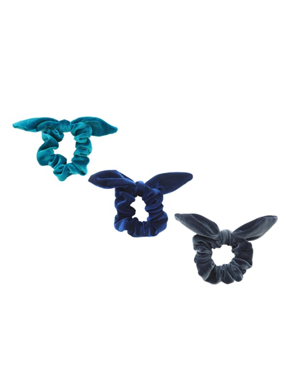 Ocean Layers Velvet Scrunchie Bundle -Multi - Front