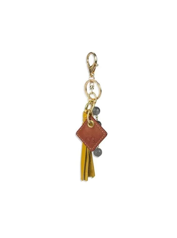 Lucca Leather Bag Charm - Yellow - Front