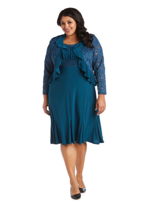 Knee-Length Dress with Ruched Bust and Lace Detailing with Lace Jacket -Plus
