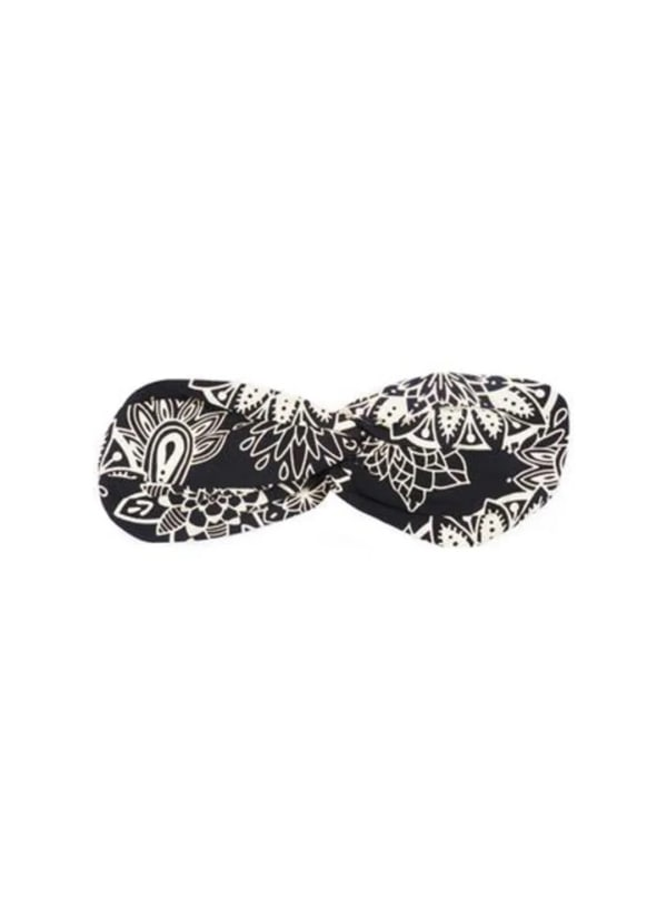 St. Kitts Twist Headband - Black / Cream - Front