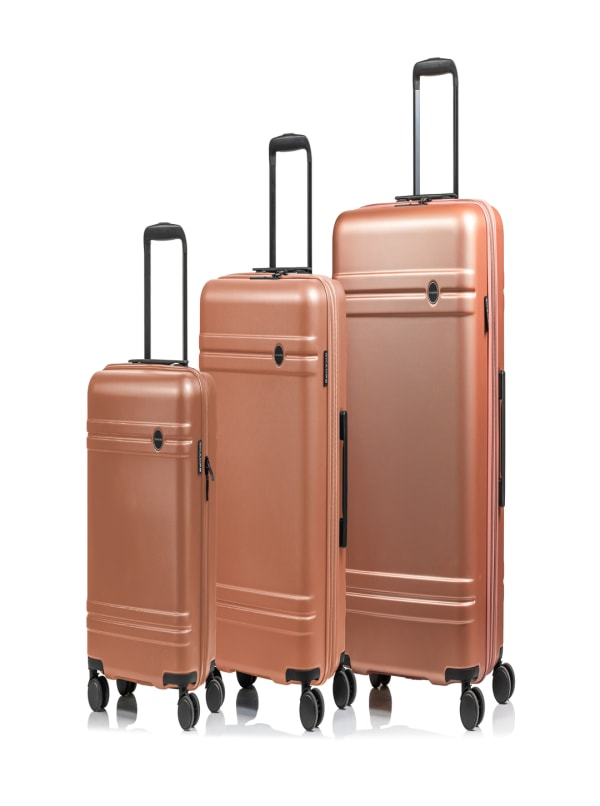 Champs 3-Piece Summit Hardside Luggage Set - Rose Gold - Front