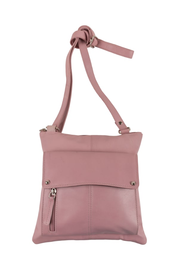 Champs Leather Crossbody Bag With RFID Protection - Pink - Front