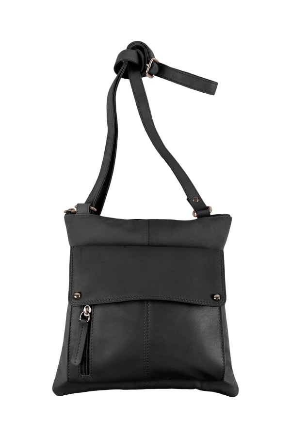 Champs Leather Crossbody Bag With RFID Protection - Black - Front