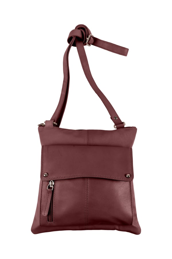 Champs Leather Crossbody Bag With RFID Protection - Burgundy - Front