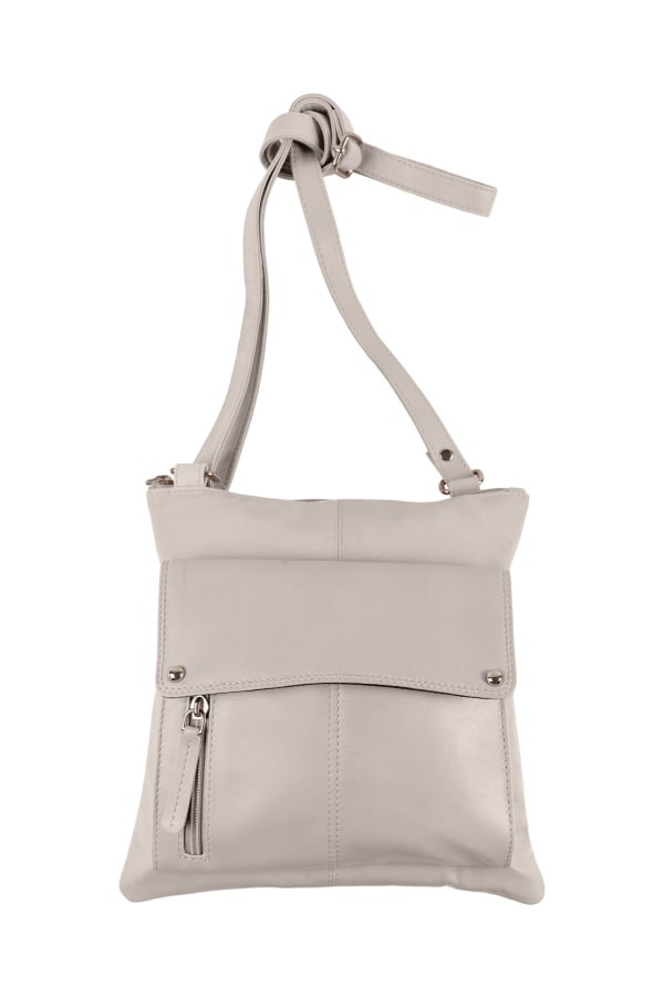 Champs Leather Crossbody Bag With RFID Protection - Creme - Front