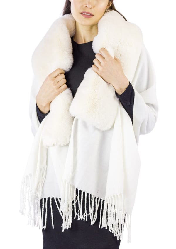 Jessica Mcclintock Solid Shawl with Oversized Faux Mink Collar