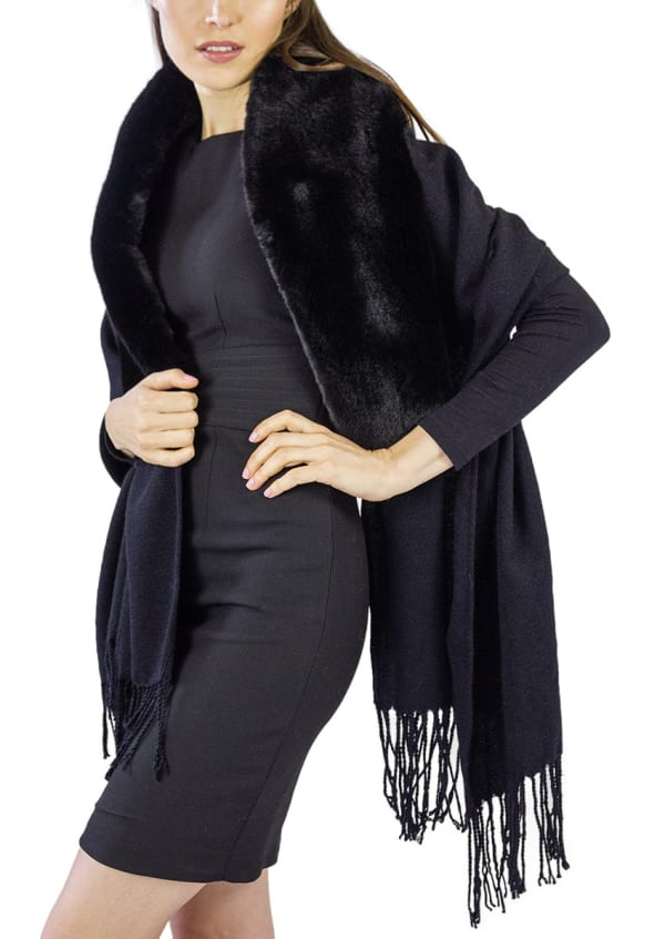 Jessica Mcclintock Solid Shawl with Oversized Faux Mink Collar -Black / Black - Front