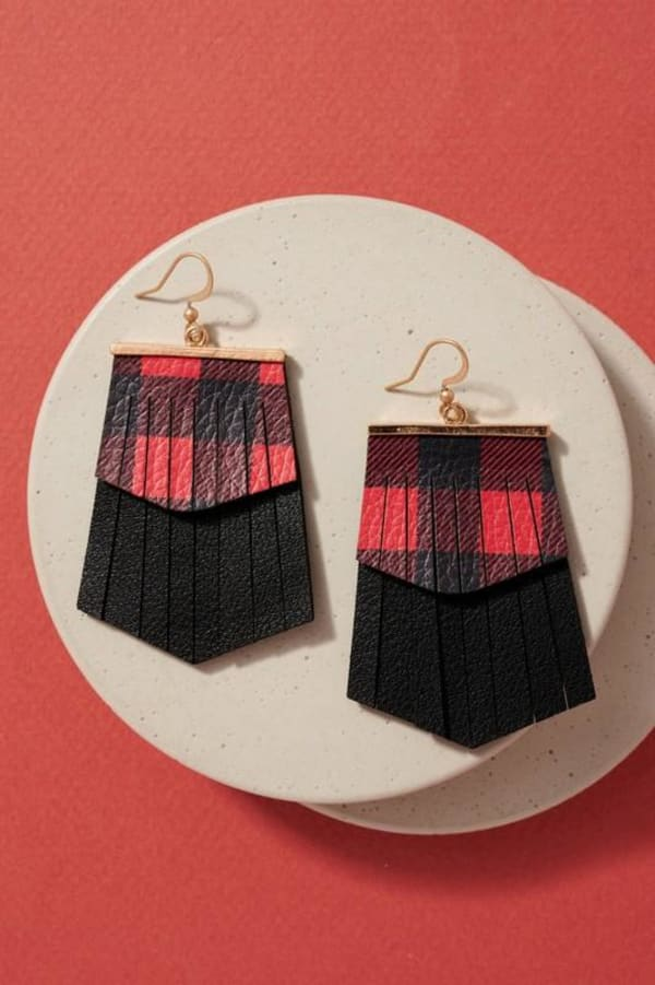 Gold plated Christmas Theme Fringed PU Leather Earrings