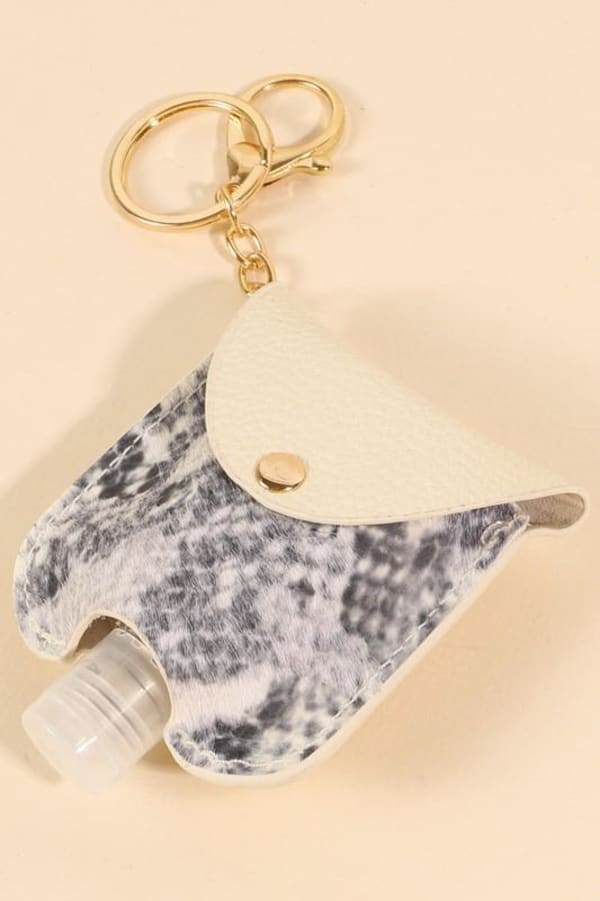 Gold Plated Snake Skin Print Leather Mini Sanitizer Holder
