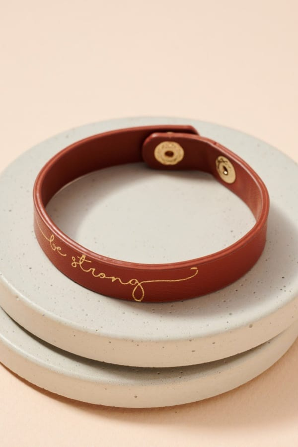 Gold Plated Be Strong Leather Bracelet