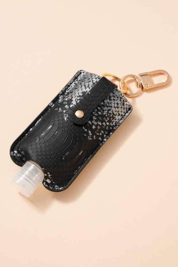 Gold Plated Snake Skin Print Leather Sanitizer Holder