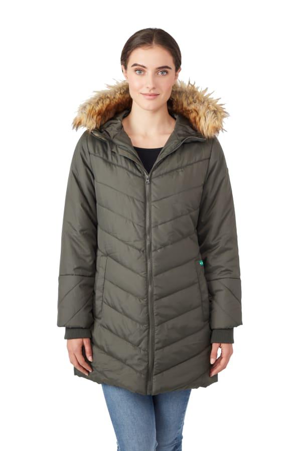 Modern Eternity - Lexi 3-in-1 Maternity Coat - Khaki Green - Front