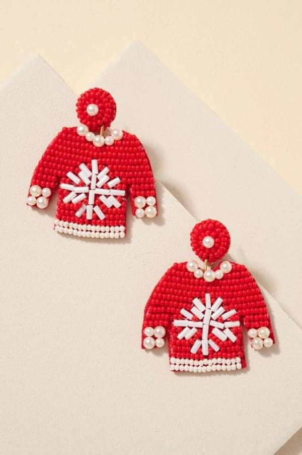 Gold Plated Seed Beaded Snow Flake Sweater Earrings