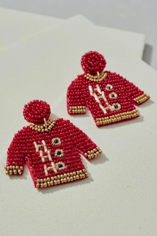 Gold Plated Seed Beaded HoHoHo Sweater Earrings