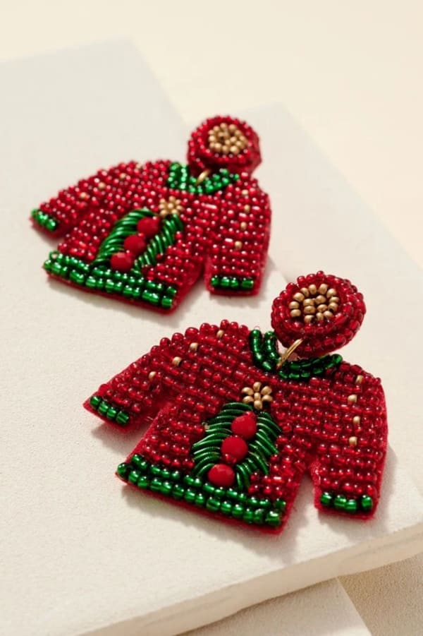 Gold Plated Seed Beaded Tree Sweater Earrings