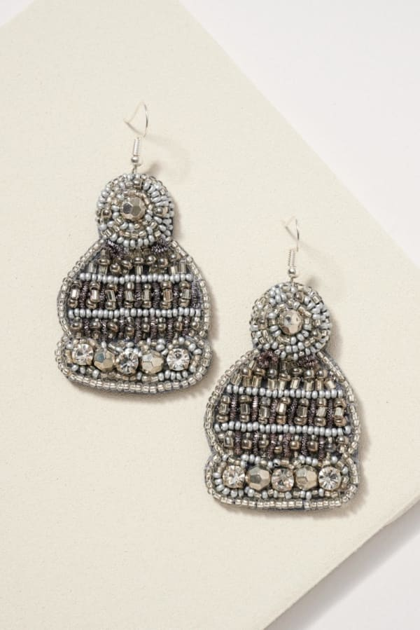 Gold plated Snow Hat Seed Beads Pearls Earrings