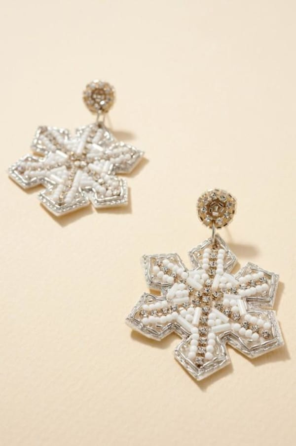 Snow Flake Beaded Dangling Earrings Gold plated