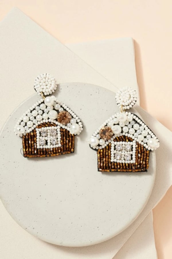 Gold Plated Snow House Seed Beads Pearls Earrings