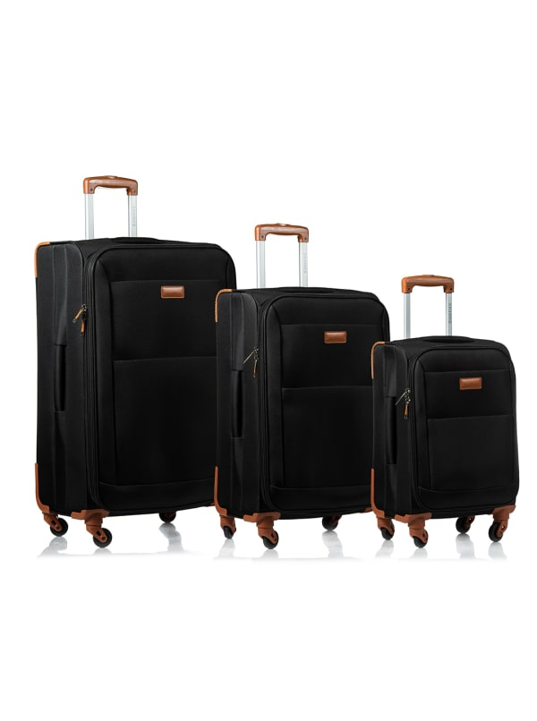 Champs 3-Piece Classic Softside Luggage Set - Black - Front