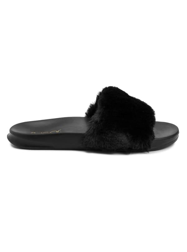Wuzz Fuzzy Slide Sandal - Black - Front