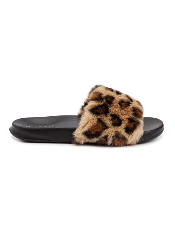 Wuzz Fuzzy Slide Sandal - Leopard - Front