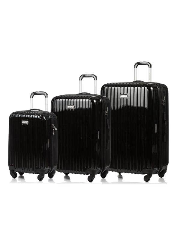 Champs 3-Piece Rome Hardside Luggage Set - Black - Front