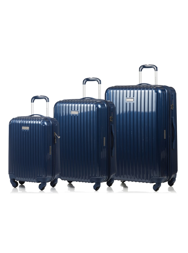Champs 3-Piece Rome Hardside Luggage Set - Navy - Front