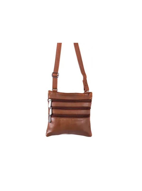 Champs Leather Triple Zip Cross Body Bag - Tan - Front