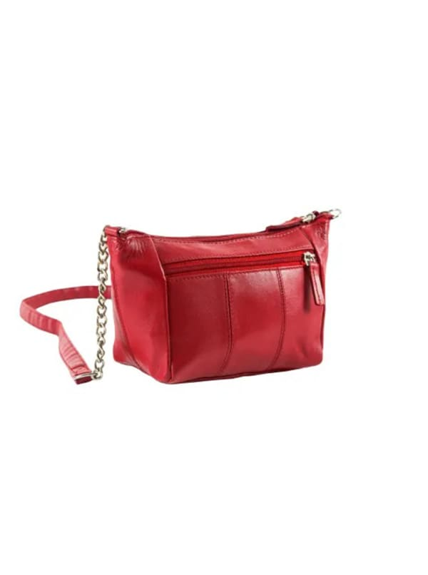 Champs Leather Double Zip Cross Body Bag - Red - Front