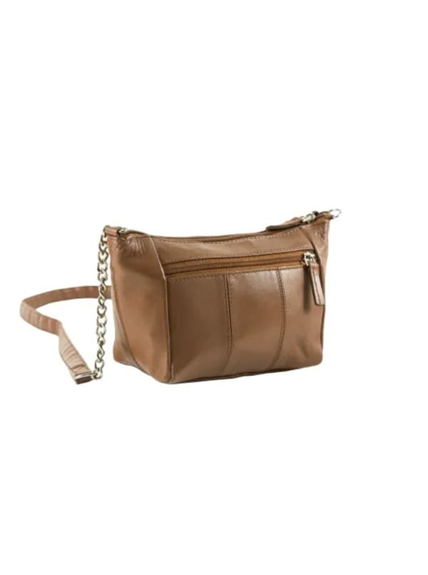 Champs Leather Double Zip Cross Body Bag - Tan - Front