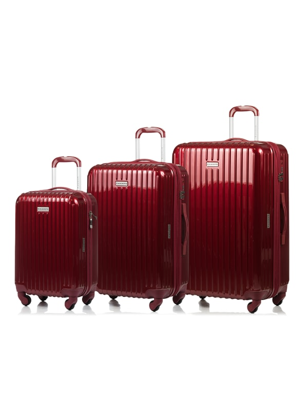Champs 3-Piece Rome Hardside Luggage Set - Red - Front