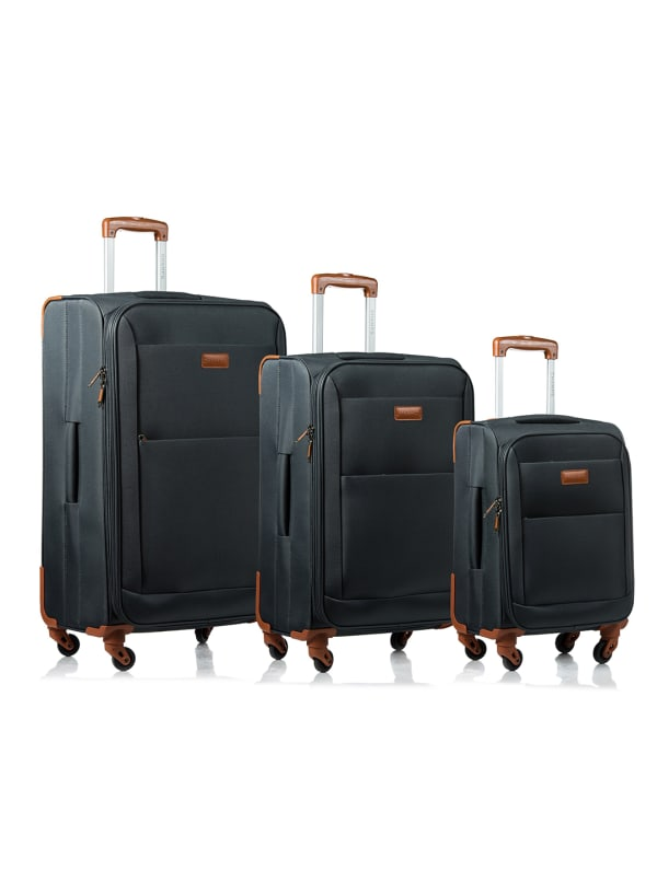 Champs 3-Piece Classic Softside Luggage Set - Grey - Front